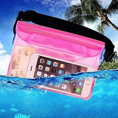 creve 3重密閉 防水ポーチ 防水バッグ 防水ケース 防水携帯ケース 防水小物入れ iphone android コインケース プール 水泳 釣り アウトドア 旅行などに (ピンク)