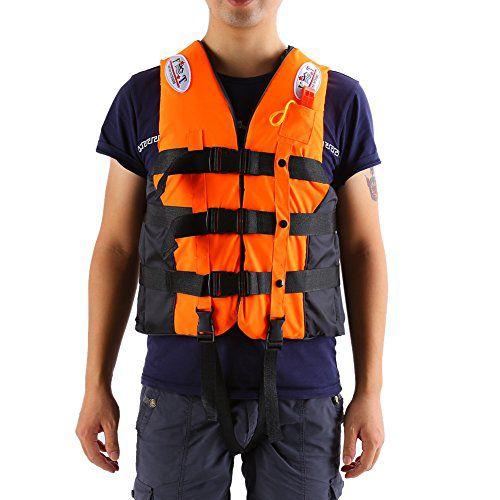 ライフジャケット フローティングベスト 救命胴衣 呼び子付け ホイッスル 反射帯付き 緊急時に役立つ 強い浮力 高い負荷力 安全安心 ベストタイプ 3カラー・5サイズに選択可能 子供用 大人用  (オレンジ, XL-大人用)
