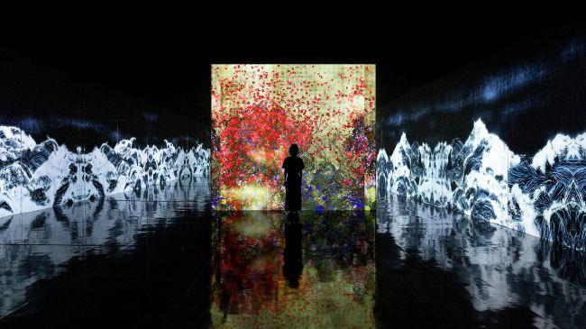 金沢21世紀美術館にて。個展「チームラボ 永遠の海に浮かぶ無常の花」開催