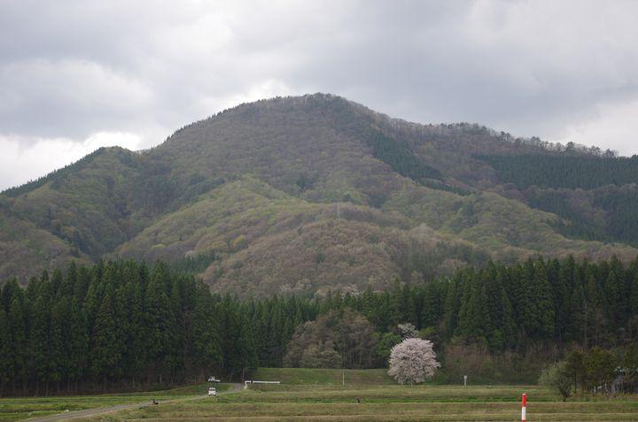 特徴のある形をした山が鞍掛山。馬の鞍に似た形からその山名がつきました。
