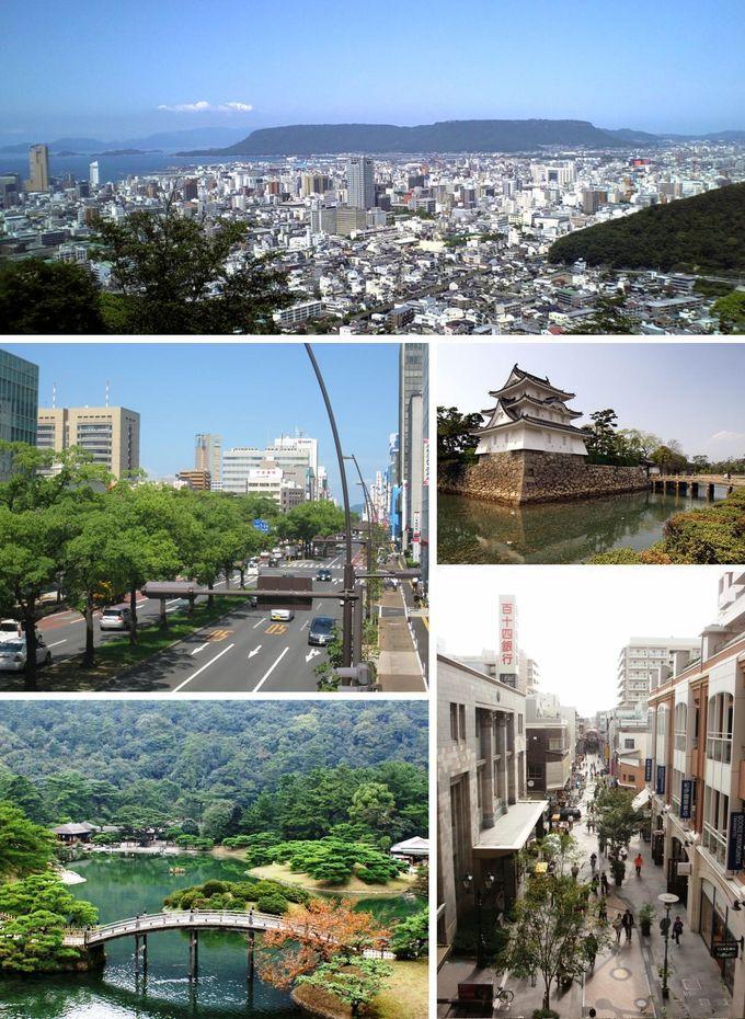 左上から:高松市中心部、中央通り、高松城、丸亀町商店街、栗林公園