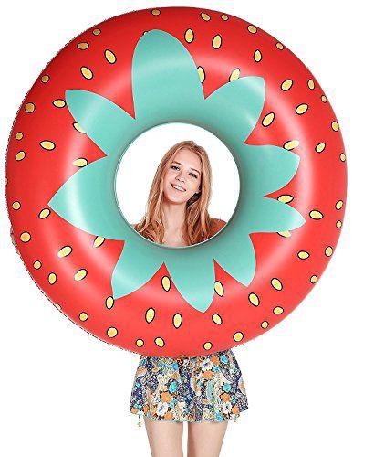 Jasonwellストロベリー浮き輪夏の日にプールのパーティーで成人と子供に合うの浮き輪飾りおもちゃ--115cm