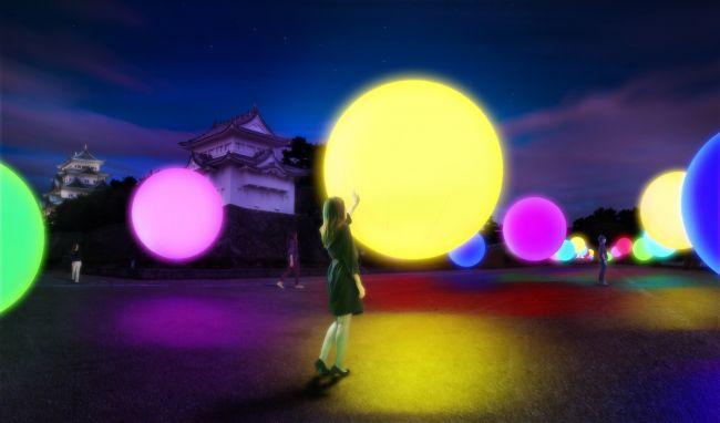 【終了】カラフルなボールが夜の城を彩る!チームラボが名古屋城をデジタルアート空間に