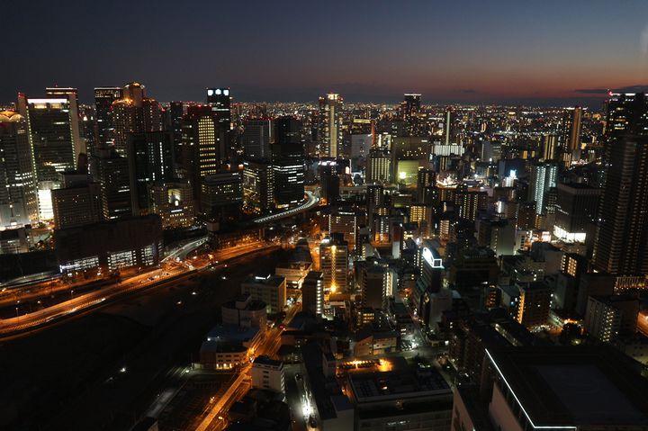 大阪 夜景 梅田スカイビル空中庭園展望台